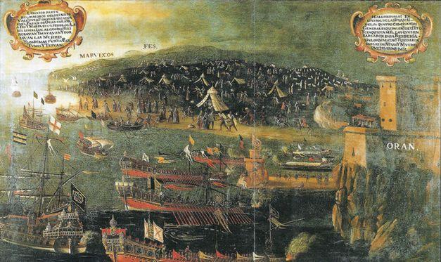 Desembarco de los moriscos en el Puerto de Orán. Pintura de Vicente Mestre 1613
