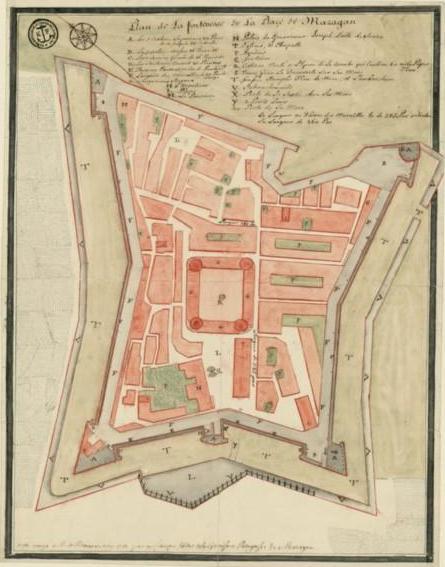 Planta de 1757 atribuída a J. B. C. Bélicard . Bibliothèque Nationalle de France