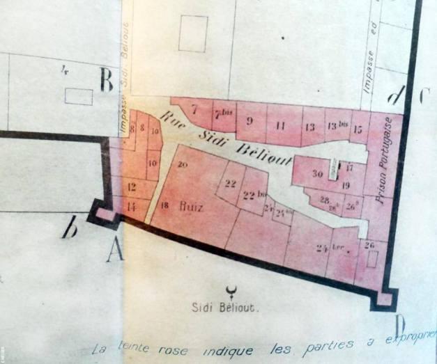 plan du quartier établi en septembre 1916 pour le prolongement du Bd du IVème zouave et approuvé en mars 1917. Aux archives nationales