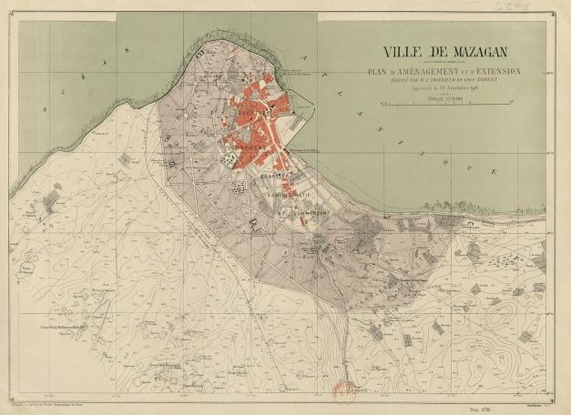 Ville de Mazagan. Plan d'aménagement et d'extension dressé par M. l'ingénieur en chef Bonnet, approuvé le 24 novembre 1916