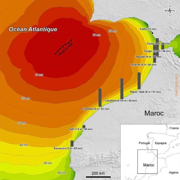 tempo de trajecto em minutos e altura máxima para vagas para um tsunami tipo 1755 MELLAS 2012