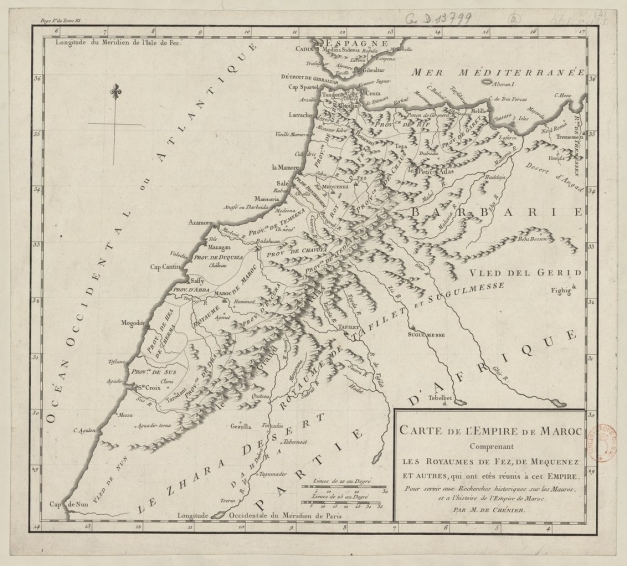 Carte de l'Empire de Maroc Chénier Louis