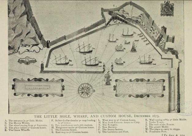 O molhe pequeno e a alfândega em 1675